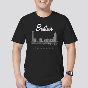 Boston_10x10_Skyline_W Men's Fitted T-Shirt (dark)