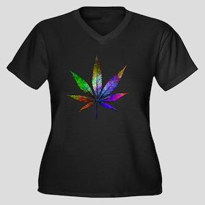leaf Women's Plus Size Dark V-Neck T-Shirt