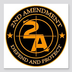 "2ND Amendment 3 Square Car Magnet 3"" x 3"""