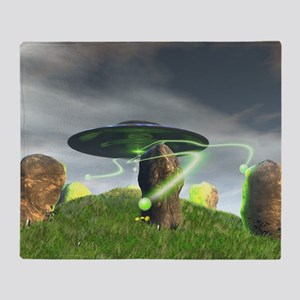 UFO and Ancient Stone Circle Throw Blanket