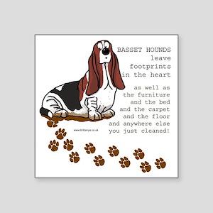 "footprints-basset copy Square Sticker 3"" x 3"""