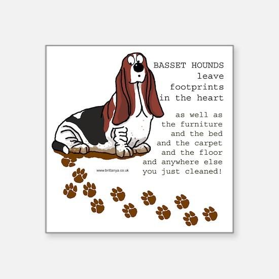 "footprints-basset copy.gif Square Sticker 3"" x 3"""