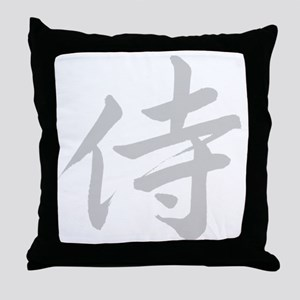 samurai-grey-10x10 Throw Pillow