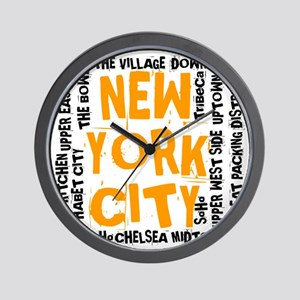 NYC_neighborhoods(on-white)2 Wall Clock
