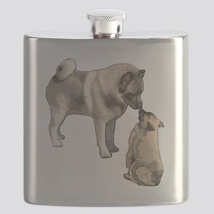 elkie adult and puppy5 Flask