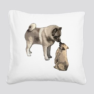 elkie adult and puppy5 Square Canvas Pillow