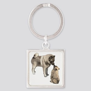 elkie adult and puppy5 Square Keychain