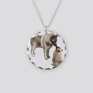 elkie adult and puppy5 Necklace Circle Charm