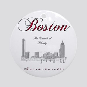 Boston_Wmn_plusv_front_Skyline_Blac Round Ornament