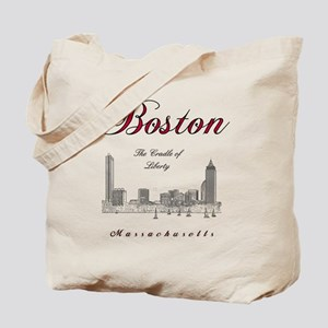Boston_Wmn_plusv_front_Skyline_BlackRed Tote Bag