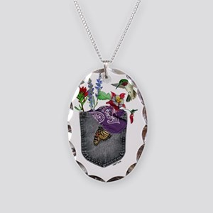 Pocket Wildflowers Necklace Oval Charm