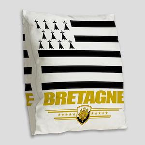 Brittany (Flag 10) Burlap Throw Pillow