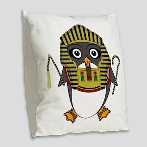 Egyptguin Burlap Throw Pillow
