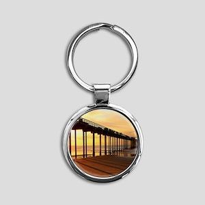 Scripps-Pier-Sunset1 Round Keychain