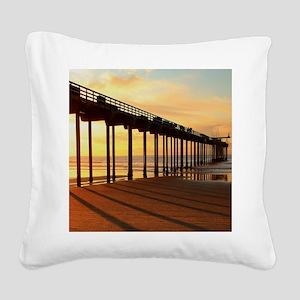 Scripps-Pier-Sunset1 Square Canvas Pillow
