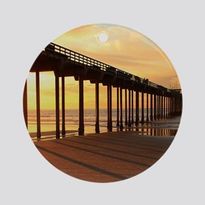 Scripps-Pier-Sunset1 Round Ornament