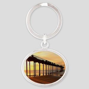 Scripps-Pier-Sunset1 Oval Keychain