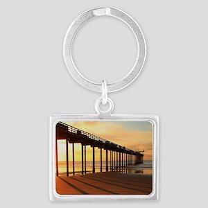 Scripps-Pier-Sunset1 Landscape Keychain
