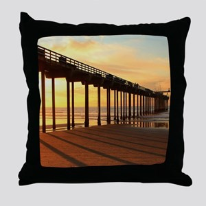 Scripps-Pier-Sunset1 Throw Pillow
