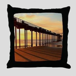 Scripps-Pier-Sunset1 Throw Pillow