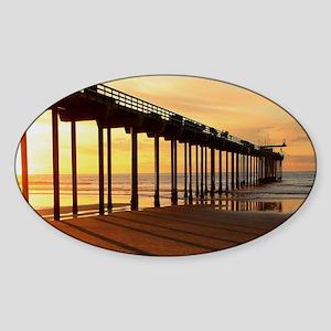 Scripps-Pier-Sunset1 Sticker (Oval)