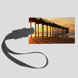 Scripps-Pier-Sunset1 Large Luggage Tag