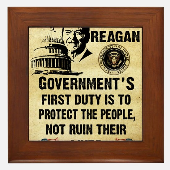 Governments First Duty Small Poster Framed Tile