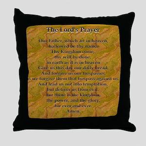 Lords Prayer_Gold frame Throw Pillow