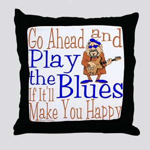Play The Blues dark Throw Pillow