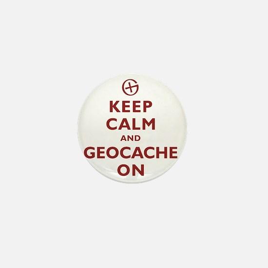 Keep Calm and Geocache On Mini Button