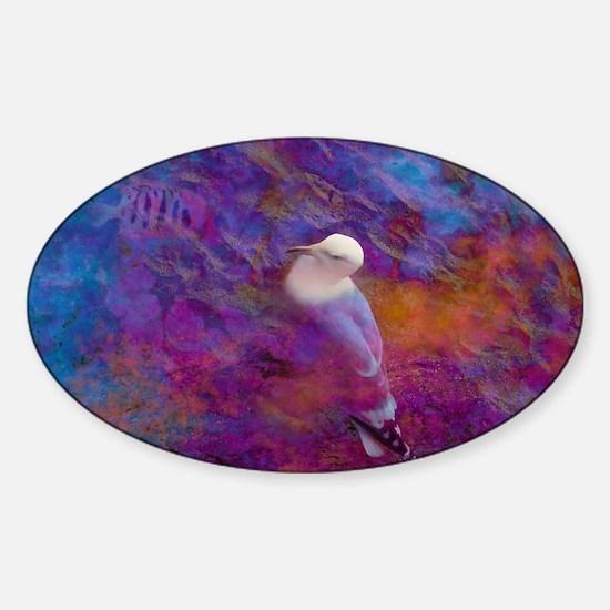 portable_oiseau_blanc_bleu_lore_m Sticker (Oval)