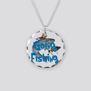 going fishing Necklace Circle Charm