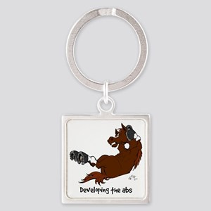 Horse Sit Ups Square Keychain