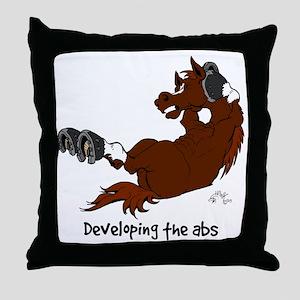 Horse Sit Ups Throw Pillow