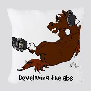 Horse Sit Ups Woven Throw Pillow