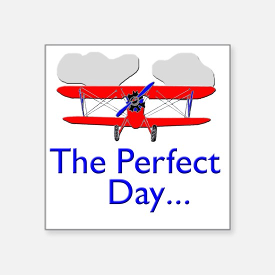 "biplane airplane flying air Square Sticker 3"" x 3"""