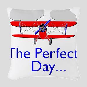 biplane airplane flying aircra Woven Throw Pillow