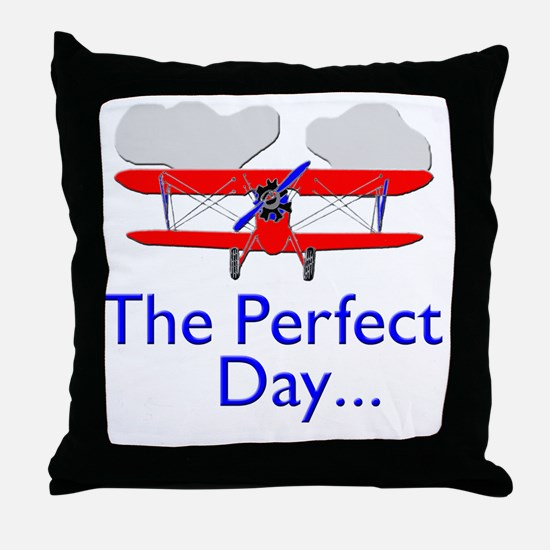 biplane airplane flying aircraft Throw Pillow