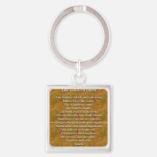 Lords Prayer_white on white Square Keychain