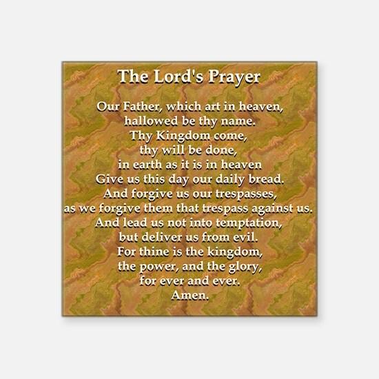 "Lords Prayer_white on white Square Sticker 3"" x 3"""