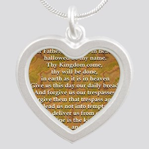 Lords Prayer_white on white Silver Heart Necklace