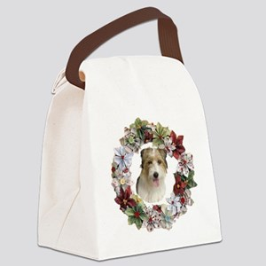 CHRISTMAS WREATH WITH JACK RUSSEL Canvas Lunch Bag