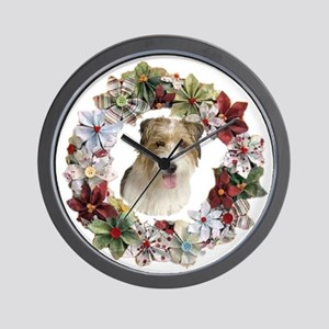 CHRISTMAS WREATH WITH JACK RUSSELL Wall Clock