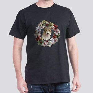 CHRISTMAS WREATH WITH JACK RUSSELL Dark T-Shirt