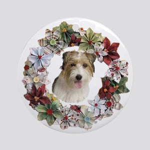 CHRISTMAS WREATH WITH JACK RUSSELL Round Ornament