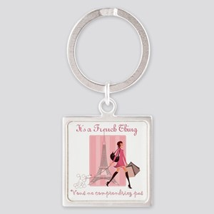 French Thing dark Square Keychain