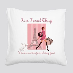French Thing dark Square Canvas Pillow