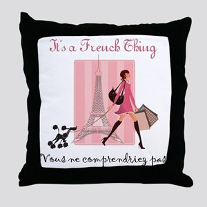 French Thing light Throw Pillow