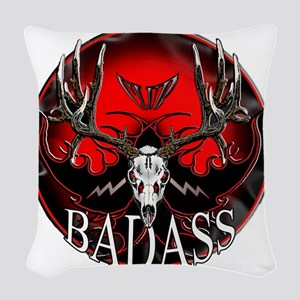badass buck Woven Throw Pillow