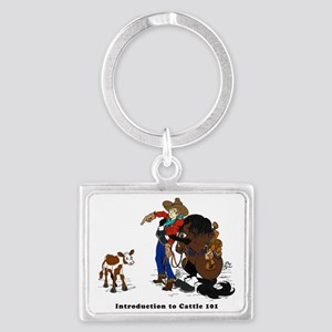 Horse Intro to Cows Landscape Keychain
